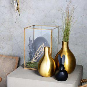 Dekoglaskasten, gold, ca L:16 x B:16 x H:23 cm