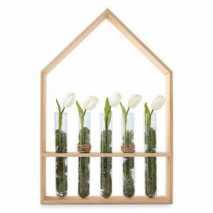 Dekohaus mit Vasen, Holz, natur, ca H:45 cm