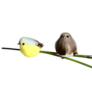 Vogel auf Clip, 2er-Set, bunt, ca L:6,5 cm