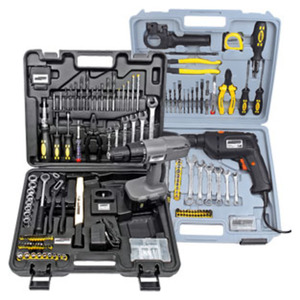 Werkzeugkoffer mit Bohrmaschine oder Akku-Schrauber