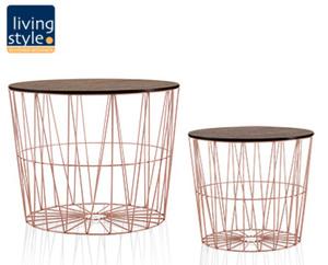 LIVING STYLE® Design-Drahtkörbe mit Deckel, 2er-Set