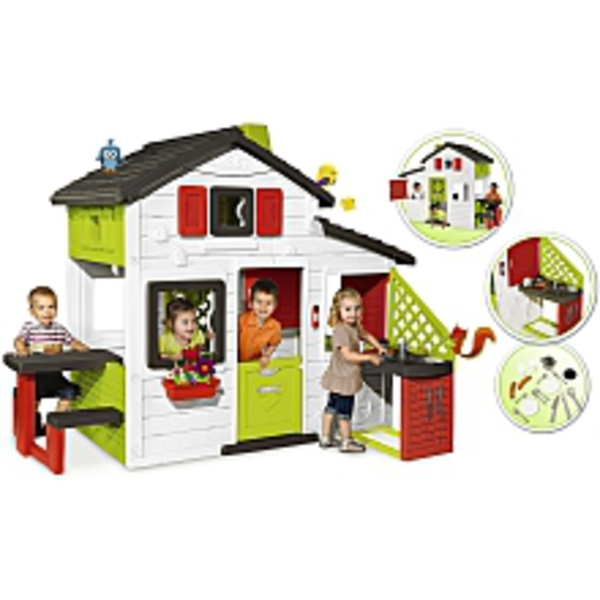 smoby spielhaus friends mit k che von toys 39 r 39 us ansehen. Black Bedroom Furniture Sets. Home Design Ideas