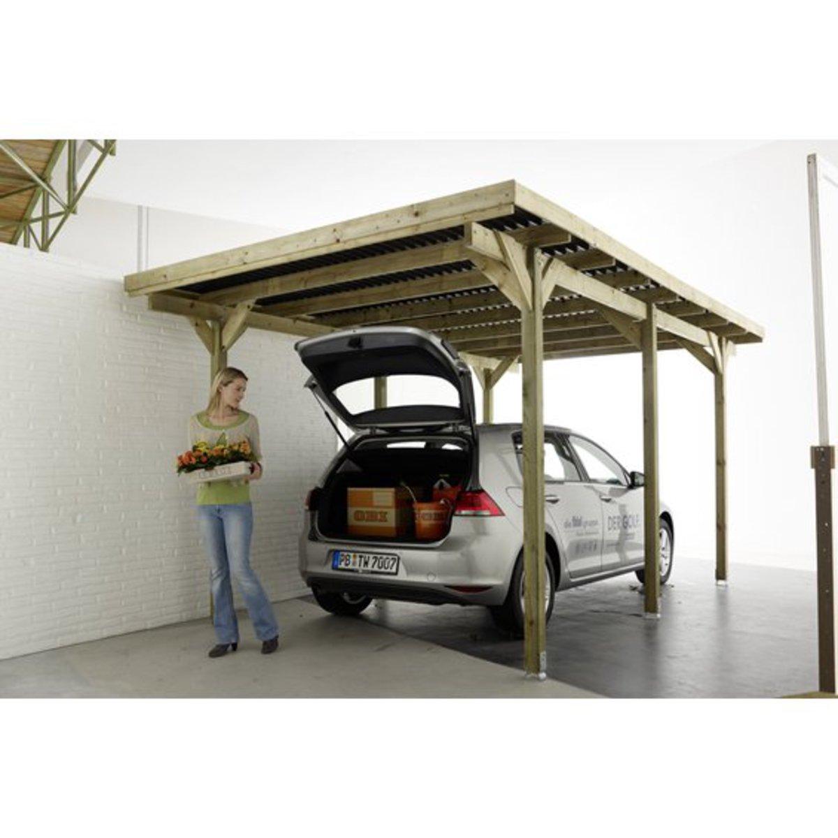 Einzel carport 300 cm x 500 cm von obi f r 199 99 ansehen for Angebote carport