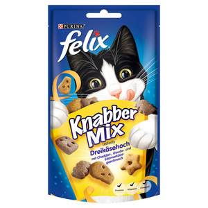 Felix              Knabber Mix Leckerlis Dreikäsehoch mit Cheddar,- Gouda- & Edamerkäsegeschmack