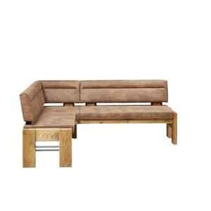 ECKBANK  in Holz, Metall, Textil Eichefarben, Hellbraun