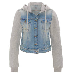 edc   Jeansjacke mit Sweat, Denim, Kapuze, Used-Look