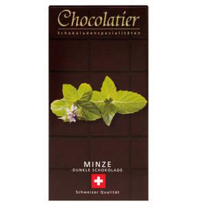 Chocolatier   Schweizer Schokolade - Dunkel mit Minze 100g