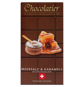 Chocolatier   Schweizer Schokolade - Vollmilch mit Meersalz und Karamel 100g