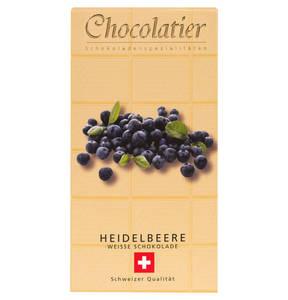 Chocolatier   Schweizer Schokolade - Weiß mit Heidelbeere 100g