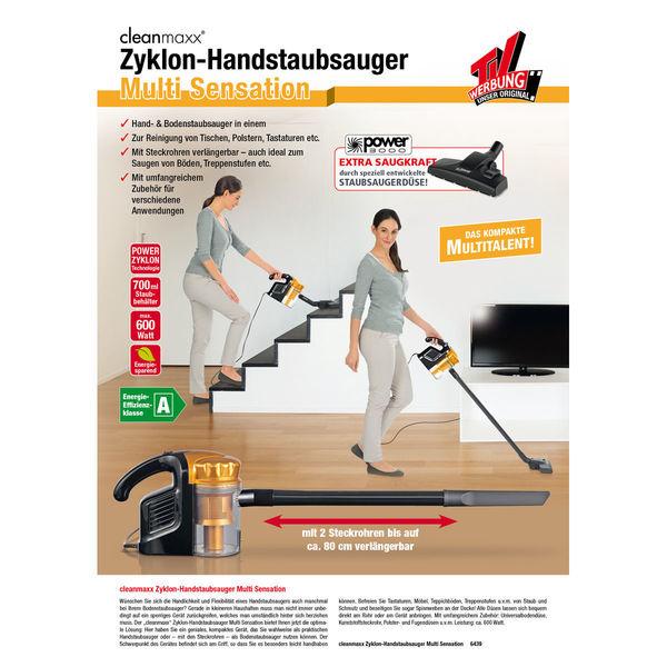 tv werbung unser original cleanmaxx zyklon handstaubsauger multi sensation 2in1 600w gold von. Black Bedroom Furniture Sets. Home Design Ideas