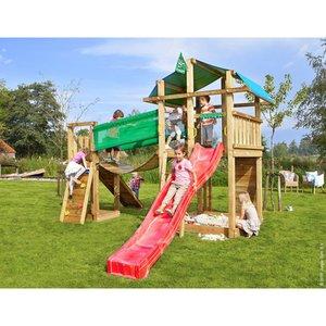 Jungle Gym Holzspielturm Fort Hängebrücke mit Rutsche Rot