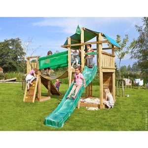 Jungle Gym Holzspielturm Fort Hängebrücke mit Rutsche Dunkelgrün