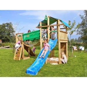 Jungle Gym Holzspielturm Fort Hängebrücke mit Rutsche Blau