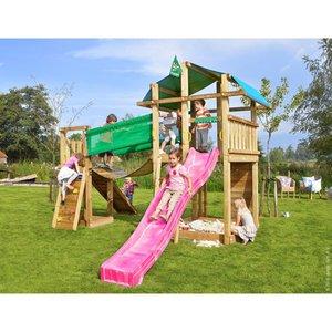 Jungle Gym Holzspielturm Fort Hängebrücke mit Rutsche Fuchsia