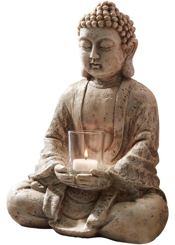Deko-Buddha mit Windlicht