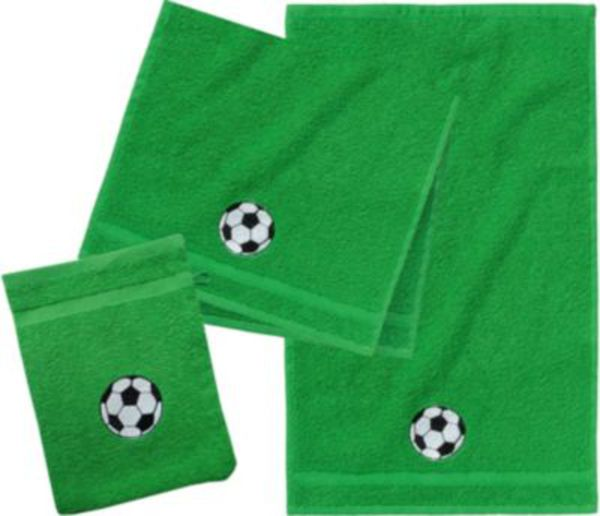 Frottierset, 2 Handtücher klein & 1 Waschlappen, Fußball/Grün, Des. 4060 grün