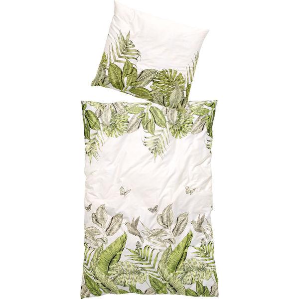 Bierbaum Satinbettwäsche Blätter Vögel 135x200 Cm Weißgrün Von
