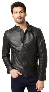 schlichte Leder-Jacke