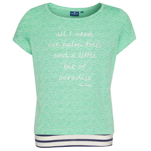 T-Shirt mit Spruch und Streifen-Top