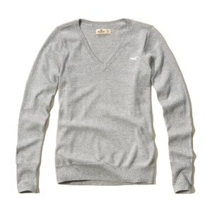 Pullover mit V-Ausschnitt und Symbol