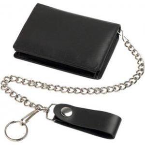 Portemonnaie Schwarz        mit Kette, echtes Leder