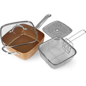 "Bratmaxx Keramik-Eckpfanne ""Copper Chef"" 4-tlg. 24 cm Ø, kupfer"