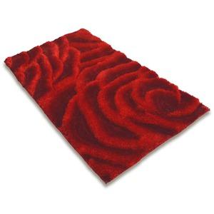 Hochflor-Teppich ROSEN PEONY - rot - 80x150 cm