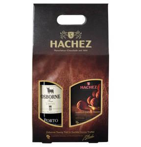 HACHEZ             Präsent-Set Töpfchen Brownie plus Osborn Tawny Portwein in der Geschenkverpackung