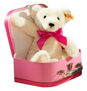 Steiff             Teddybär mit rosa Schleife im Koffer