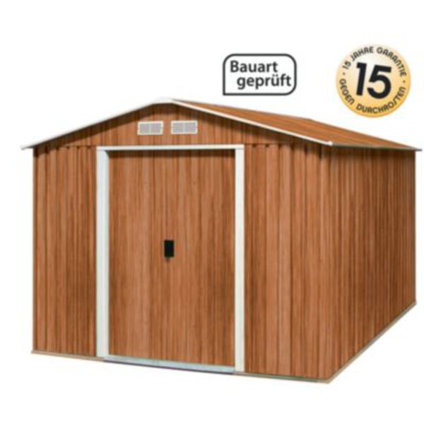 tepro dh 8x6 typ e metallger tehaus in holzoptik 6 32 m von f r 498 ansehen. Black Bedroom Furniture Sets. Home Design Ideas