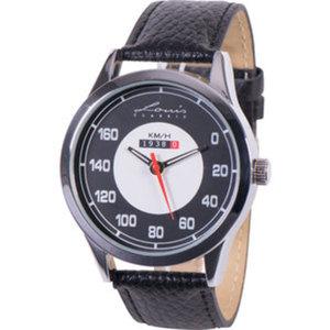 Armbanduhr Retro Tacho        schwarzes Nappa-Lederarmband