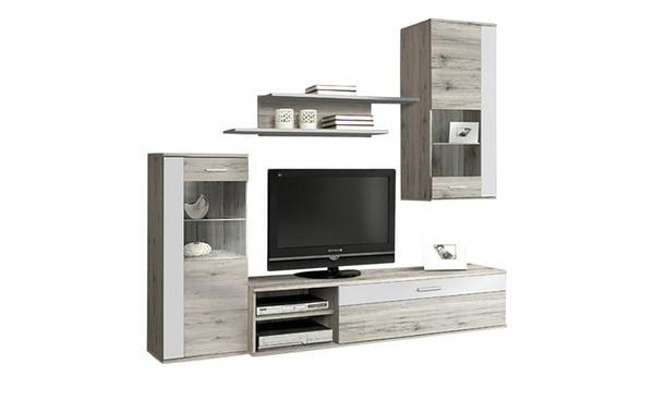 wohnwand sandeiche nachbildung wei von sconto sb f r 179. Black Bedroom Furniture Sets. Home Design Ideas