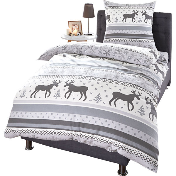 labanny biberbettw sche elch 135x200 cm grau wei von karstadt ansehen. Black Bedroom Furniture Sets. Home Design Ideas