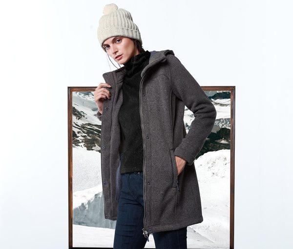 strickfleece mantel grau meliert von tchibo f r 34 95. Black Bedroom Furniture Sets. Home Design Ideas