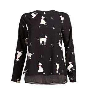 Bluse mit Katzen-Print
