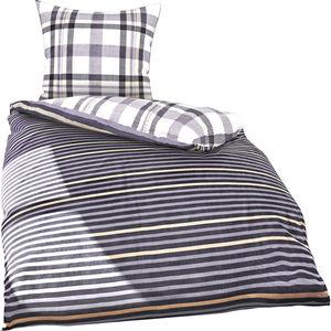 Ibena Wende-Satinbettwäsche Streifen/Karo, 135x200 cm, schwarz/weiß