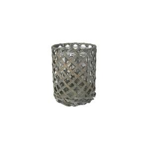 Windlicht Antonia in Grau aus Glas/holz