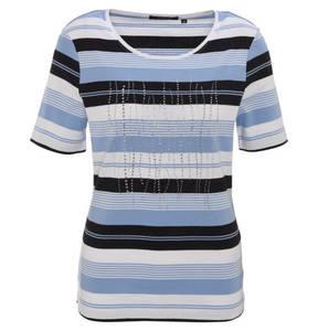 Fabiani        T-Shirt, halblange Ärmel, Rundhals, gestreift, Strass