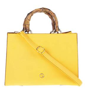 L. CREDI             Handtasche, Bambusgriff, Umhängeriemen