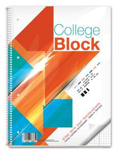 Collegeblock DIN A4 kariert mit Doppelrand - Lineatur 38