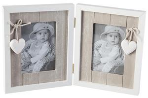 Bilderrahmen - für 2 Fotos à 9x13 cm - aus Holz - 20x32x2 cm