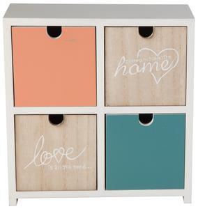 Schubladenbox - aus Holz - mit 4 Schubladen - 23x10x24 cm