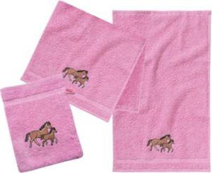 Frottierset, 2 Handtücher klein & 1 Waschlappen, Pferd/Rosa