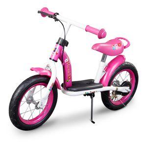 Metall Laufrad 12 Zoll pink Flowerie mit Handbremse, Ständer und Luftbereifung