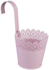 Pflanztopf zum Hängen - aus Metall - 14 x 10 x 12,5 cm - rosa