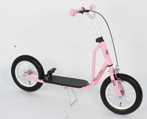 Roller 12 Zoll rosa Flowerie mit Ständer und 2 Bremsen