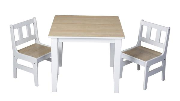 delta holz kinder sitzgruppe wei natur tisch ca 59 5 x 59 5 x 44 cm st hle ca 26 5 x. Black Bedroom Furniture Sets. Home Design Ideas