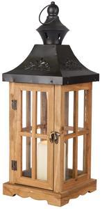 Laterne - aus Holz - 17x17x46 cm