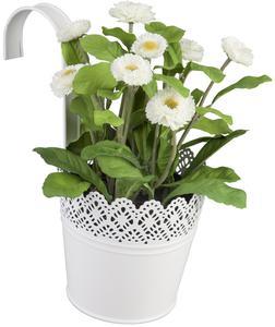 Pflanztopf zum Hängen - aus Metall - 14 x 10 x 12,5 cm - weiß