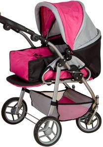 Besttoy - Kombi Puppenwagen - grau/pink/schwarz